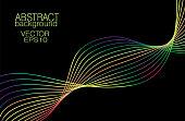 Multi-colored waveform on black background. Vector vibrant rainbow line art pattern. Artistic waving lines. Abstract technician design element. EPS10 illustration