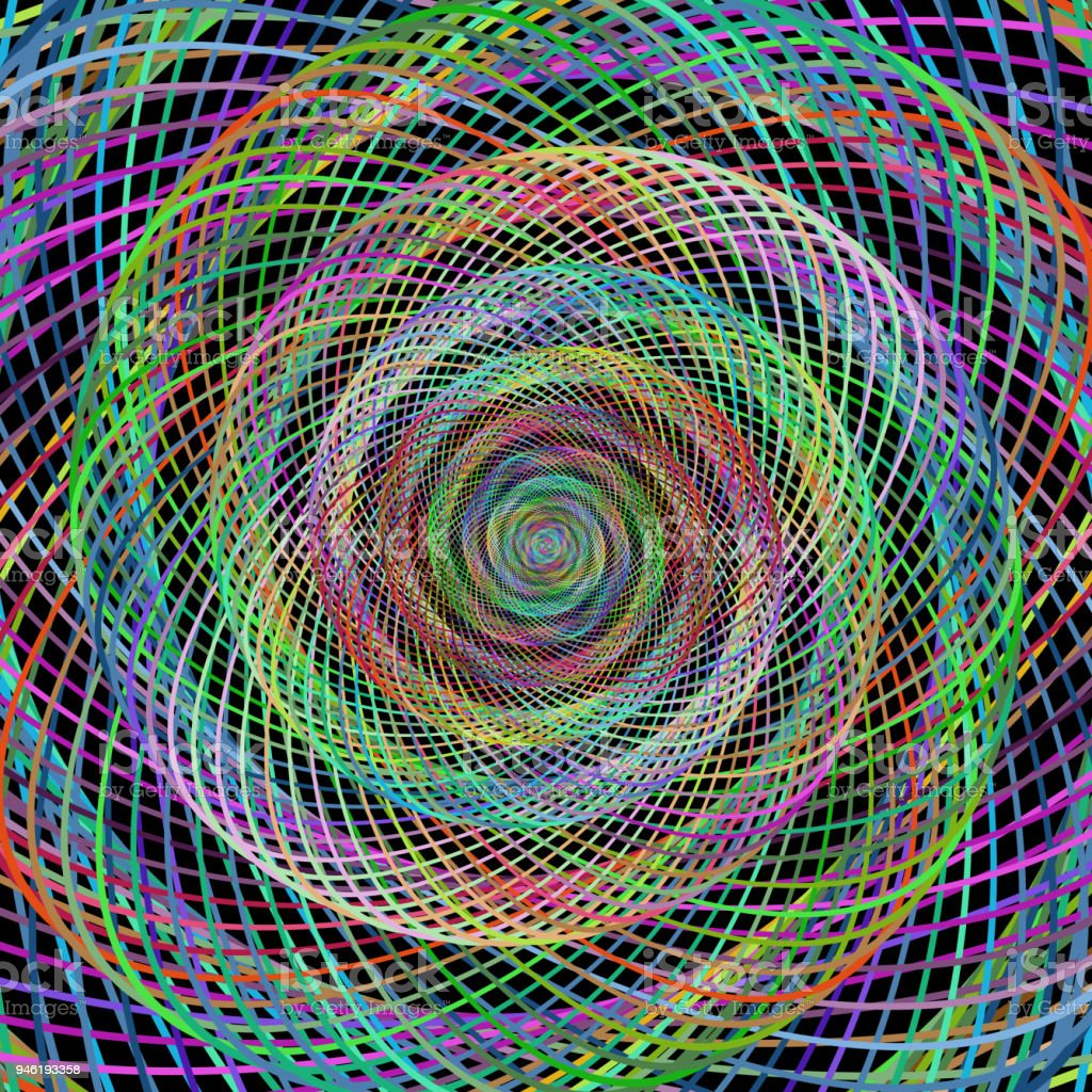 Bunte Kabel Spirale Fraktale Hintergrund Kunst Stock Vektor Art und ...