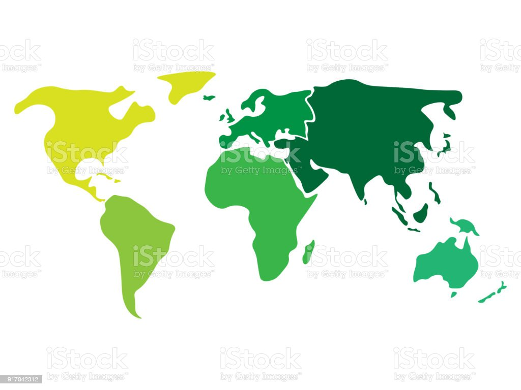 Multicolored world map divided to six continents in different colors - North America, South America, Africa, Europe, Asia and Australia Oceania. Simplified silhouette blank vector map without labels vector art illustration