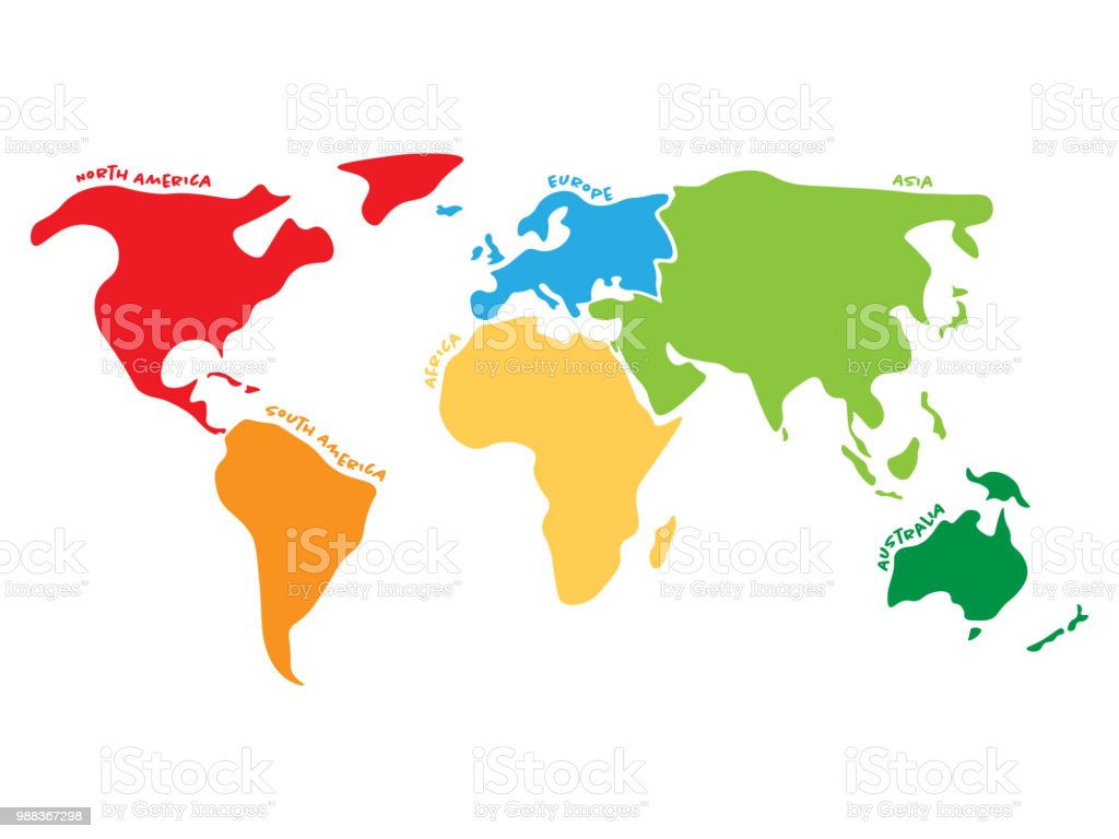 Multicolored World Map Divided To Six Continents In Different Colors North America South America Africa Europe Asia And Australia Simplified Silhouette Vector Map With Continent Name Labels Curved By Borders Stock Illustration