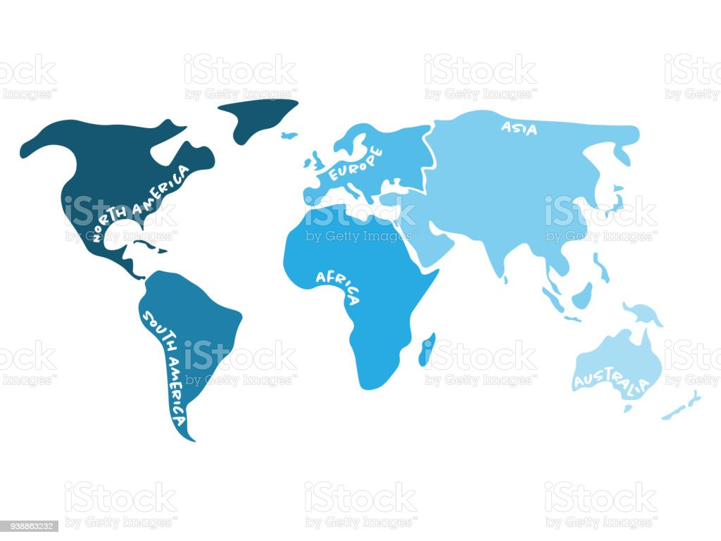 Multicolored world map divided to six continents in s north america multicolored world map divided to six continents in s north america south america gumiabroncs Images