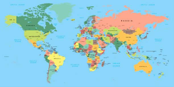 wielobarwna mapa świata ze stolicami i krajami - mapa świata stock illustrations