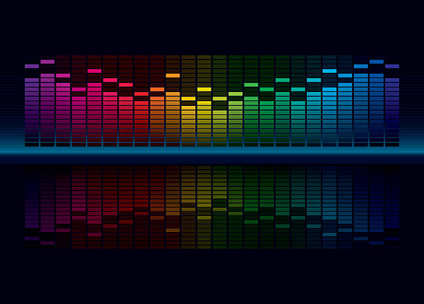 Multicolorl Graphic Equalizer Coloful Graphic Equalizer Display for title page design (editable vector) sound mixer stock illustrations