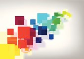 Colourful abstract squares with blur shadow background.