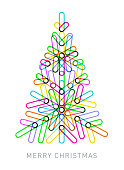 Abstract Geometric Christmas Tree made from overlapping transparent shapes.