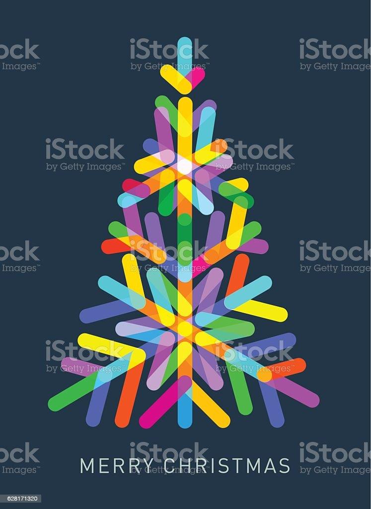 Multi-coloured Christmas Tree vector art illustration