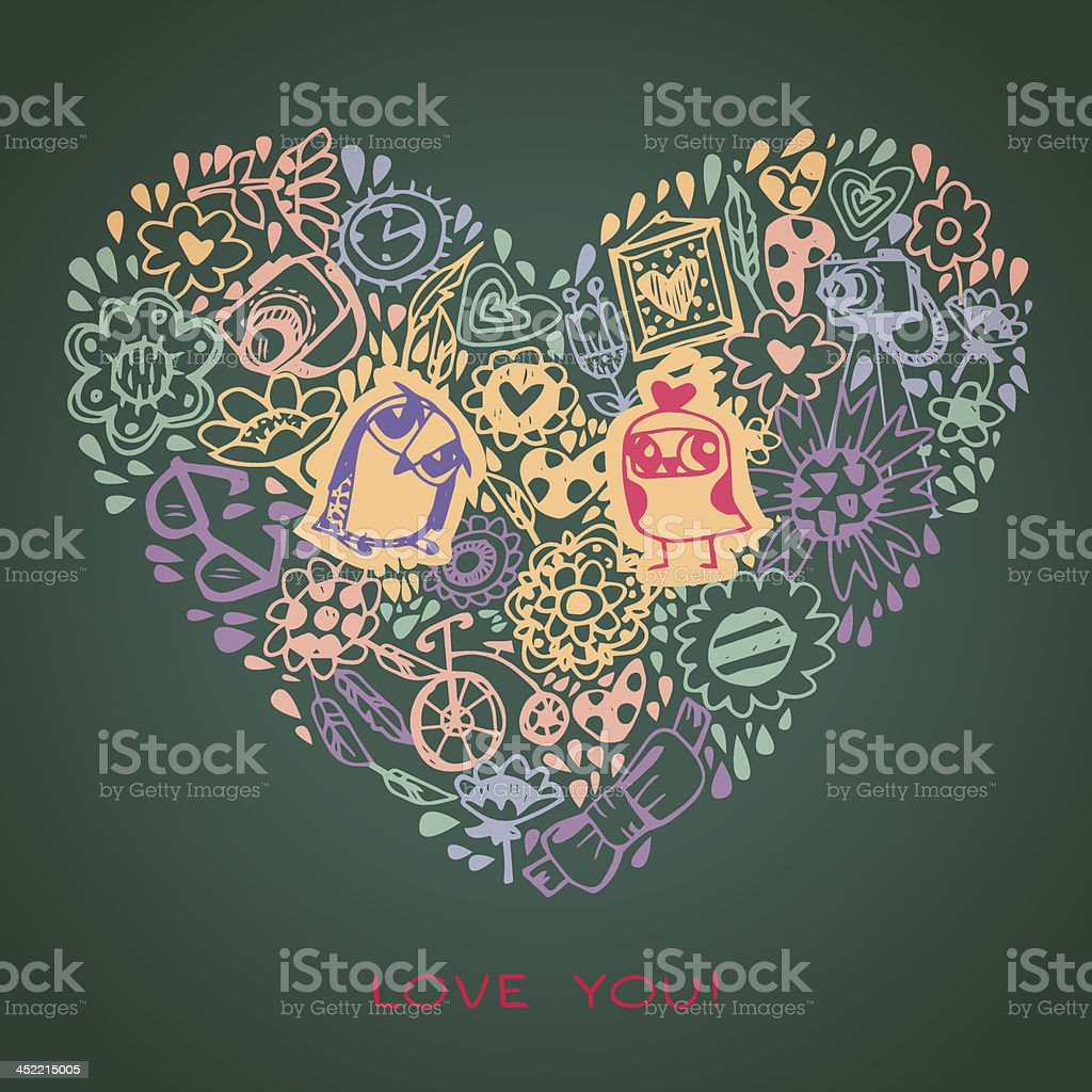 Multicoloured heart and owl template for greeting card. Sample text. royalty-free multicoloured heart and owl template for greeting card sample text stock vector art & more images of animal markings