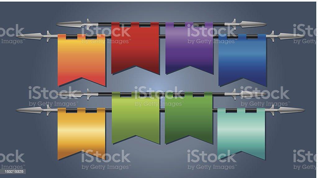 Coloridas bandeiras medievais - ilustração de arte em vetor