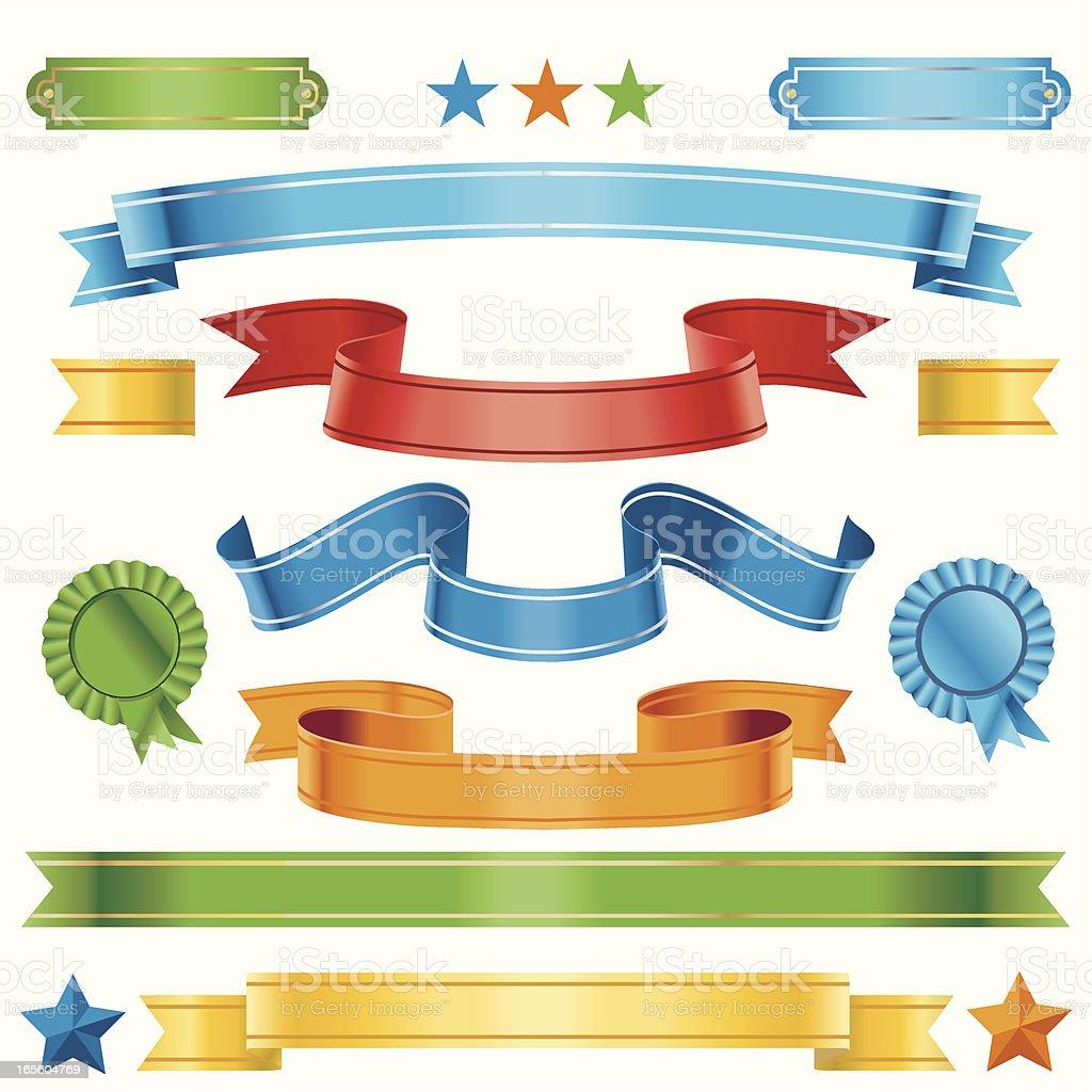 Multi-coloured ribbons vector art illustration