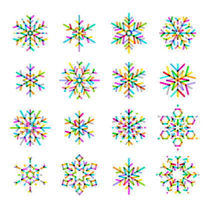 Multi-coloured Snowflake Icon Set