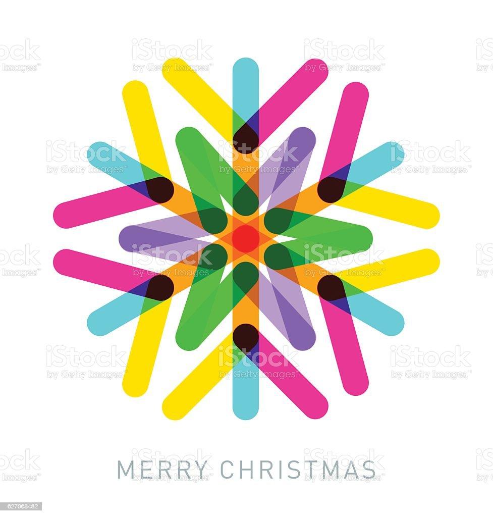 Multi-coloured Snowflake - ilustración de arte vectorial