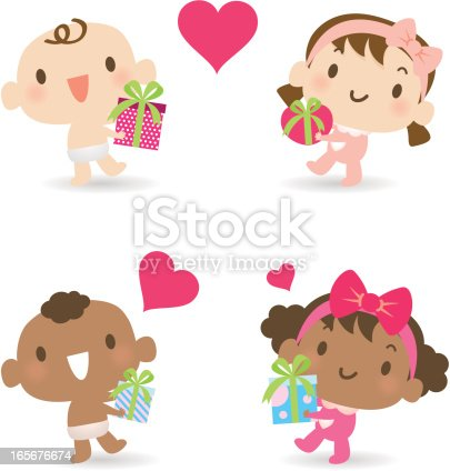 istock Multicultural babies giving love gifts ( boy, girl ) 165676674
