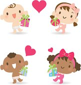 Vector illustration – Multicultural babies giving love gifts.