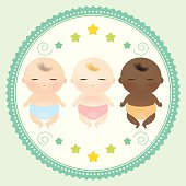 Vector illustration of three multicultural babies sleeping.