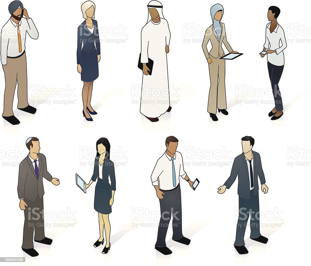 Multicultural Business People vector art illustration