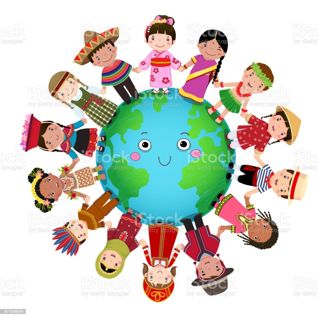 Multicultural Children Holding Hand Around The World Stock ...