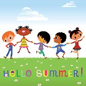 Happy kids of different ethnicities, holding hands, meeting a Summer.