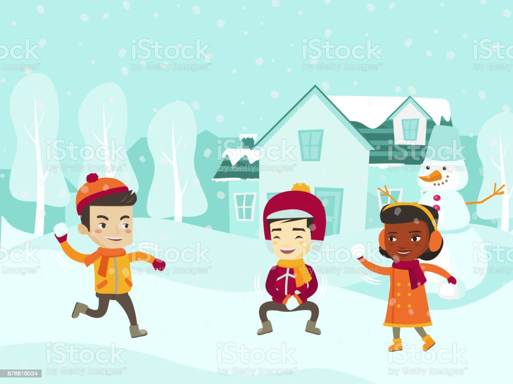 Multicultural children playing snowball fight vector art illustration