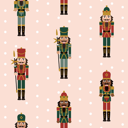 Multicultural Christmas Nutcracker Figures - Seamless Pattern with Toy Soldier Doll Decorations