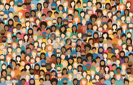 istock Multicultural Crowd of People. Group of different men and women. Young, adult and older peole. European, Asian, African and Arabian People. Empty faces. Vector illustration. 1290118946