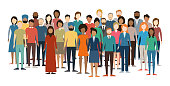 Multicultural Crowd of People. Group of different men and women. Young, adult and older peole. European, Asian, African and Arabian People. Empty faces. Vector illustration.