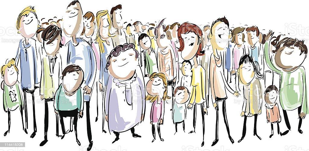 Multi-Cultural Crowd vector art illustration