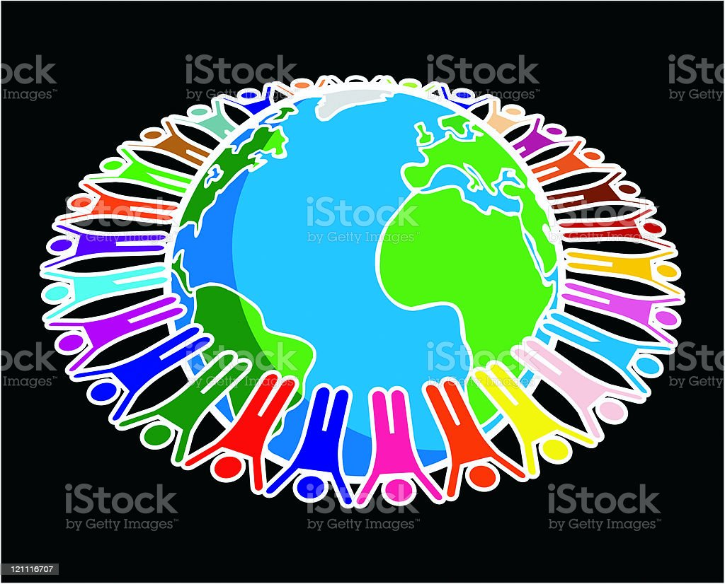 Multicultural Earth royalty-free stock vector art