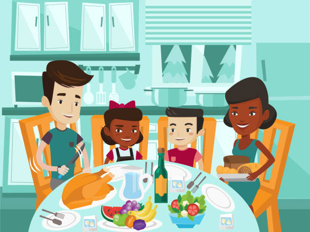 multicultural family celebrating thanksgiving day - family dinner stock illustrations, clip art, cartoons, & icons
