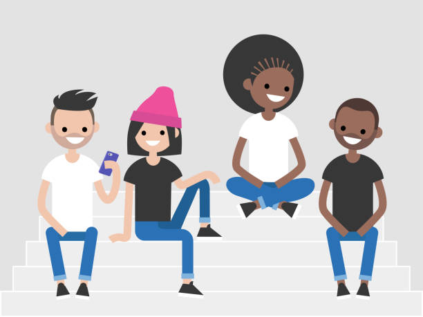 a multicultural group of millennials sitting on the stairs. generation z, lifestyle illustration. flat editable vector, clip art - young adult stock illustrations