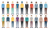 Multicultural group of people in Medical Masks. Set of different men. Full Height Figures. Young, adult and older peole. European, Asian, African and Arabian People. Vector illustration.