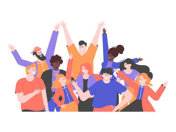 wielokulturowa grupa ludzi stoi razem. zespół kolegów, studentów, szczęśliwych mężczyzn i kobiet. wielonarodowe społeczeństwo. przyjaźń, praca zespołowa i współpraca. wektorowa płaska ilustracja. - friends stock illustrations