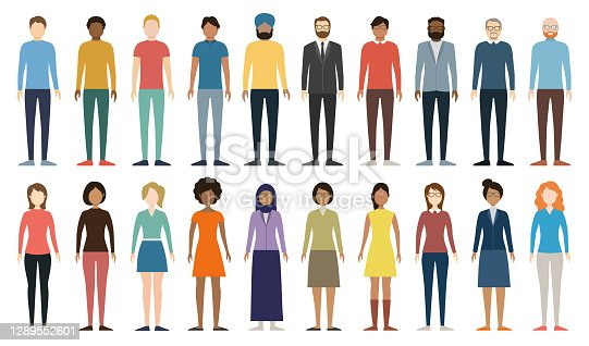 Multicultural group of people. Set of different men and women. Full Height Figures. Young, adult and older peole. European, Asian, African and Arabian People. Diverse Empty Faces. Vector illustration.