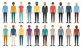 Multicultural group of people. Set of different men. Full Height Figures. Young, adult and older peole. European, Asian, African and Arabian People. Vector illustration.