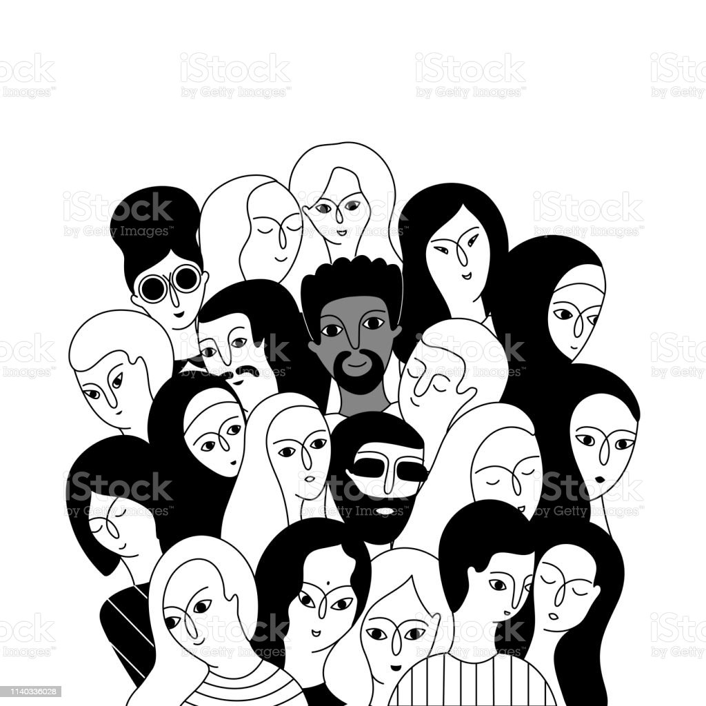 A multicultural group of women and men A multicultural group of women and men (Muslim, Asian, European, Hindu) on a white background. Social diversity. Doodle cartoon vector illustration. Adult stock vector