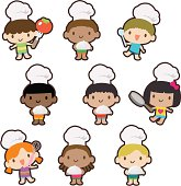 Vector illustration - Multicultural kids cooking, baking, carrying a covered dinner plate.