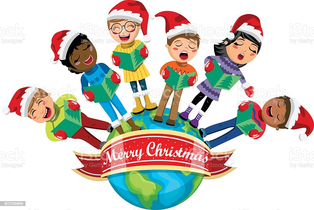 Multicultural kids wearing xmas hat singing Christmas carol Earth isolated vector art illustration