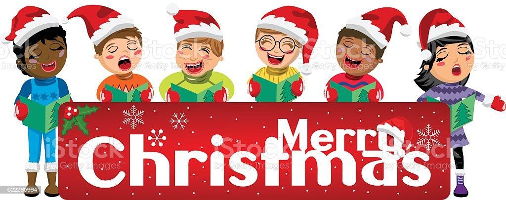 Ilustración de Multicultural Kids Xmas Hat And Singing Christmas Carol  Banner Isolated y más Vectores Libres de Derechos de Actuación - Conceptos  - iStock