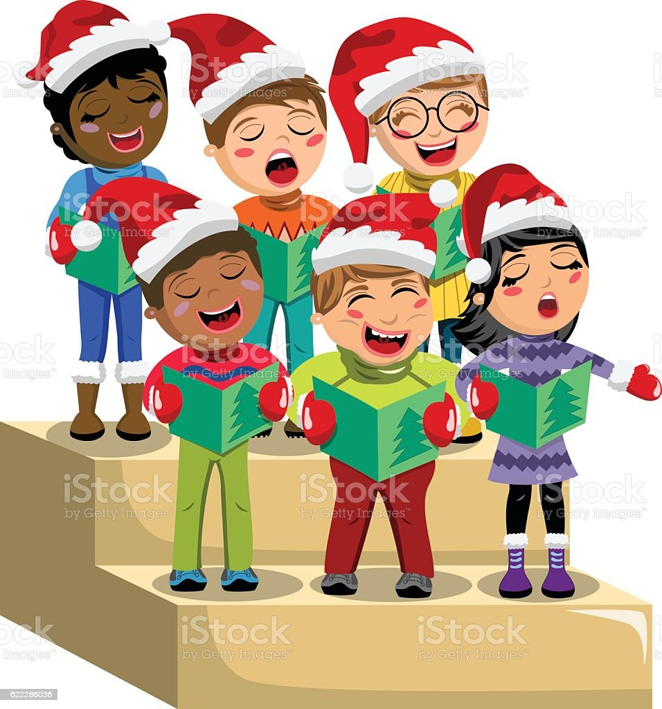 Multicultural kids xmas hat singing Christmas carol choir riser isolated vector art illustration