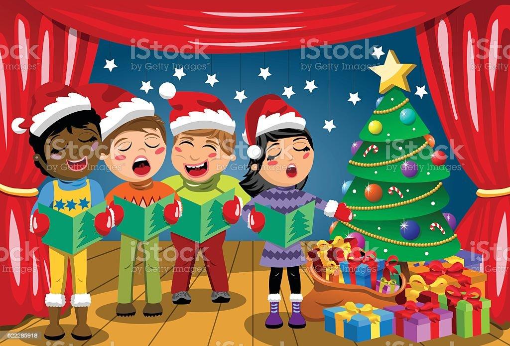 3cfd0b2da5f34 Multicultural kids xmas hat singing Christmas carol nativity play stage  royalty-free multicultural kids xmas