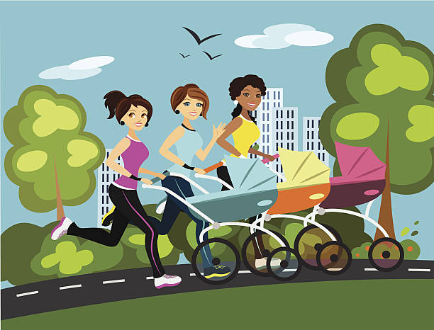 Multicultural Mothers Running With Strollers vector art illustration