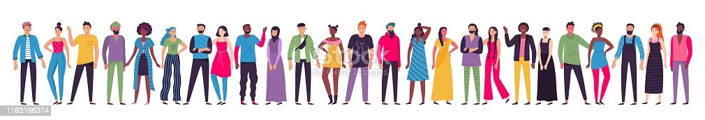 Multicultural people group. Adult citizens, workers team standing together and multiethnic society. Human resources diversity, different society characters togetherness unity vector illustration