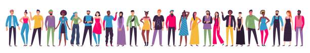 Multicultural people group. Adult citizens, workers team standing together and multiethnic society vector illustration vector art illustration