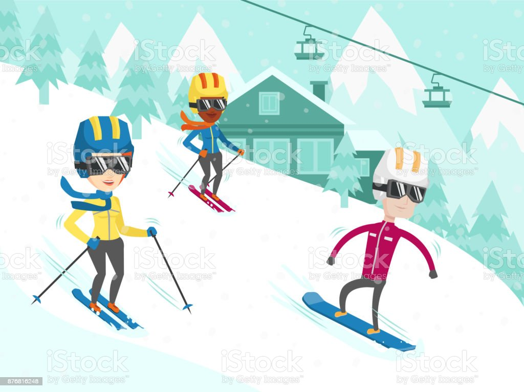 Multicultural people skiing and snowboarding vector art illustration