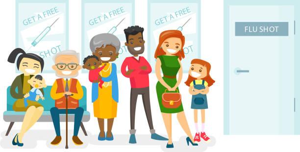 illustrations, cliparts, dessins animés et icônes de multicultural personnes en attente d'une vaccin contre la grippe - vaccin enfant
