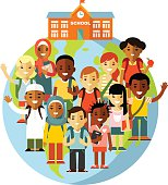 Different school children on earth globe and school background in flat style