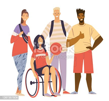 Sport Team Portrait. Happy disabled girl sitting in wheelchair and holding basketball ball. A young woman with a disability plays basketball in a wheelchair. Inclusiveness, activity of the disabled. Stock vector flat illustration of a wheelchair