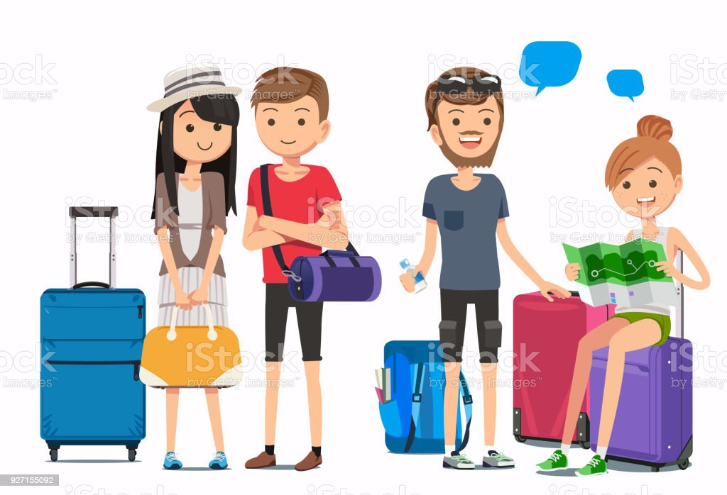 Multicultural travelers. Travel arrangements with airlines. Tourist and luggage in cute style vector art illustration