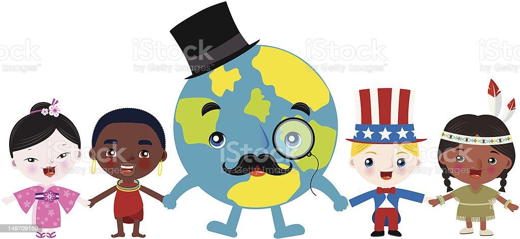 Multiculture children holding hands vector art illustration