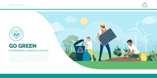 Multiethnic active family helping the environment vector art illustration