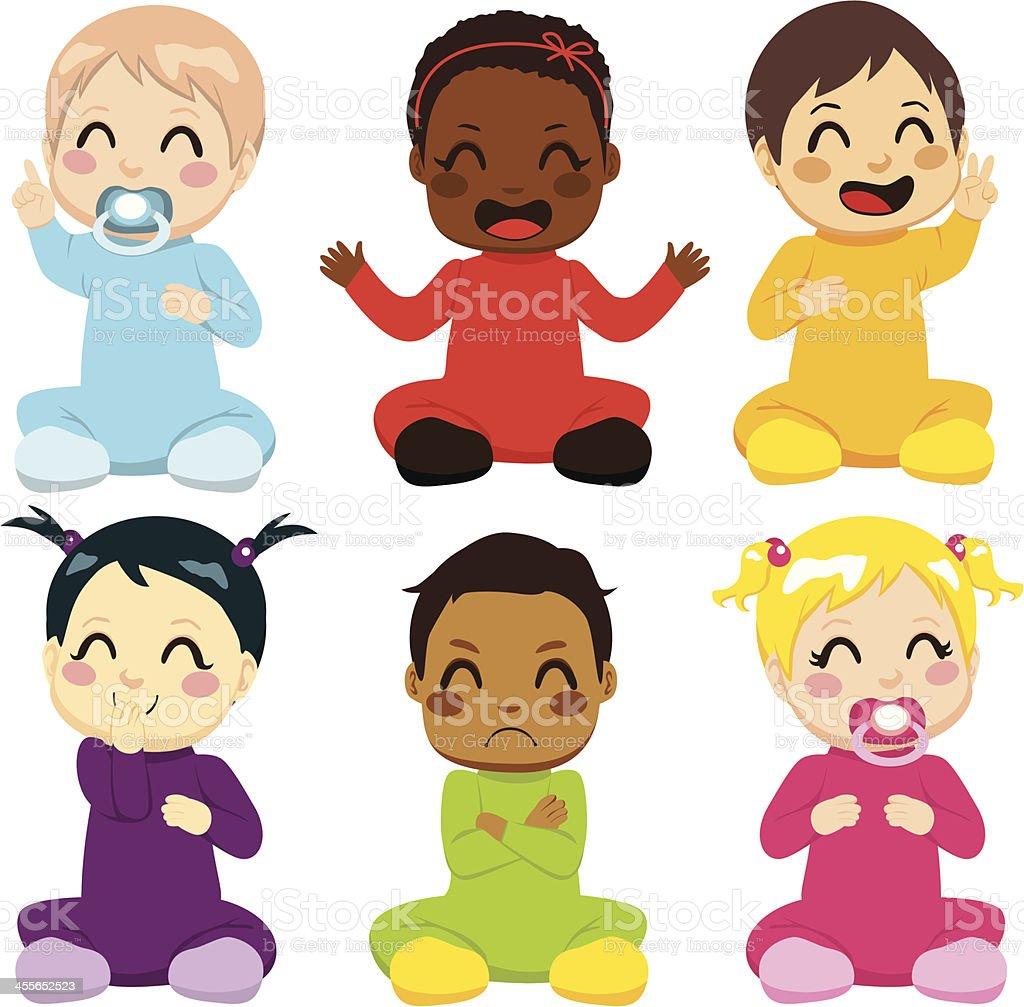 Multi-ethnic Baby Kids vector art illustration